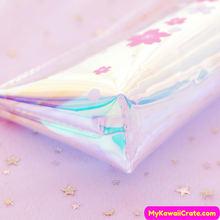 Sakura Cherry Blossoms Translucent Laser Pencil Bag
