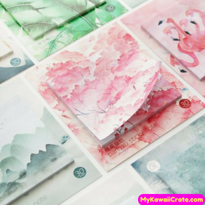 Sakura Scenery Mountains Flamingo Magnolia Flower Sticky Notes