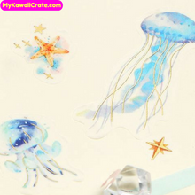 Sea World Boy Gilding Stickers / Underwater Ocean Whale Jellyfish Coral Fish Decorative Stickers