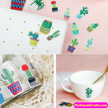 Shining Cactus Plants Bling Bling Deco Sticker Pack / Kawaii Laser Stickers