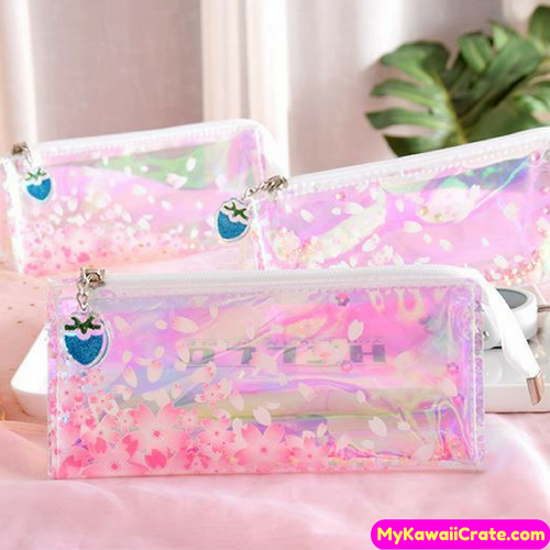Japanese Sakura Cherry Blossom Laser Shine Translucent Pencil Bag
