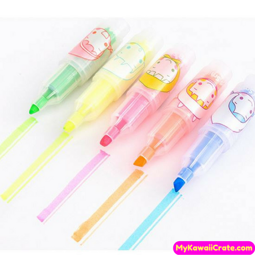 5 Pc Pack Smile Cute Girl Pocket Size Highlighters