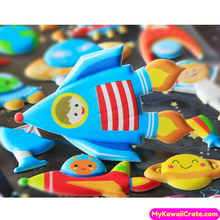 Cute Cartoon Space Trip Astronaut Rocket 3D Decorative Puffy Stickers