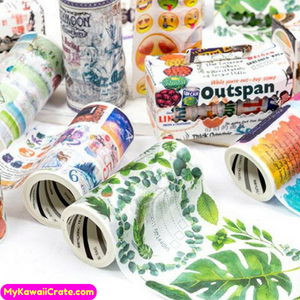 The Global Fantasies Decorative Wide Washi Tape ~ Flowers Plants Chocolate Letters Emoji Chinese Masking Tape