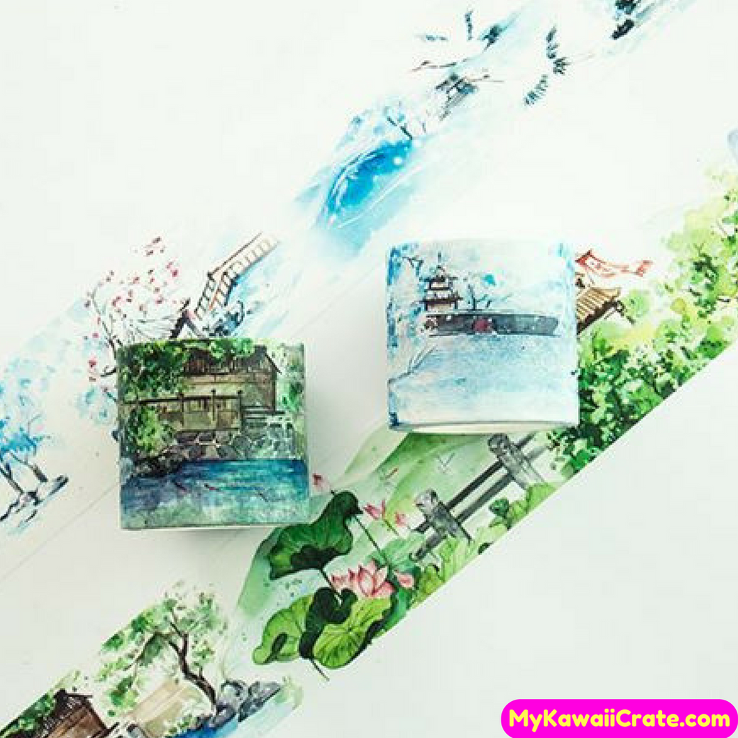Creative Chinese Pavilion Winter Summer Scenery Wide Washi Tape / Masking Tape