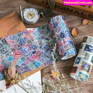 The Story In The Mailbox Vintage Style Stamps Decorative Wide Washi Tape / Masking Tape