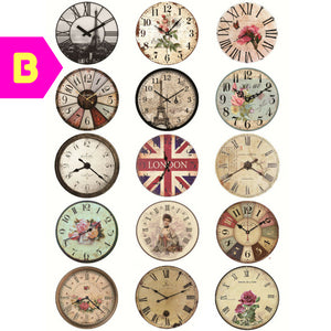 A5 Hand Painted Vintage Style Clock Decorative Uncut Stickers