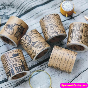 Creative Vintage Style Love Letters Map Newspaper Tickets Masking Tape