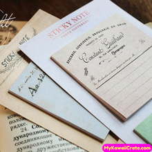 Vintage Style Sticky Notes / Self Adhesive Memo Notes