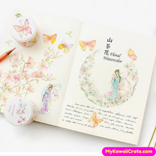 Watercolor Flowers Birds Butterflies Leaf Washi Tape / Masking Tape