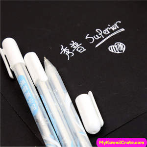 2 Pc White Ink Rollerball Pens