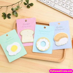 4 Packs Set ~ Yummy Breakfast Toast Egg Donut Sushi Sticky Notes