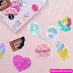 Yummy Sweet Snacks Shining Deco Sticker Pack / Kawaii Laser Stickers