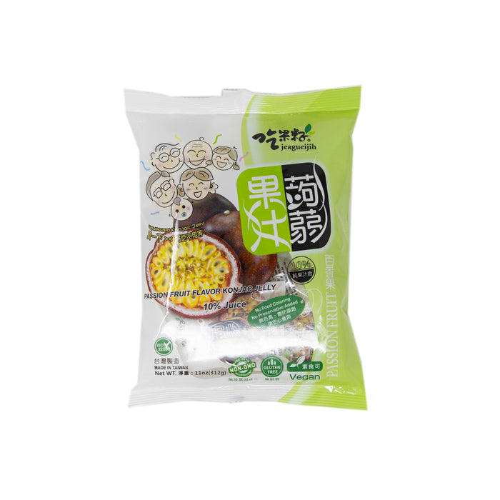 Jeagueijih Passion Fruit Flavor Konjac Jelly (Vegan) <br> 吃果籽果汁蒟蒻 (百香果味)