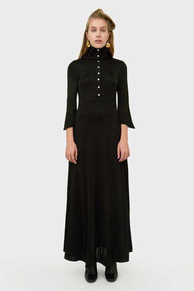 SOIREE LONG FLUID HIGHT NECK DRESS