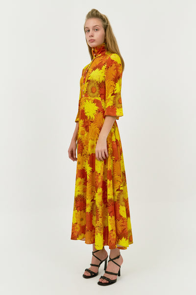 ORANGE FLORAL SOIREE DRESS