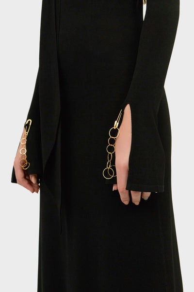 EMMERSION DRESS WITH SCARF COLLAR BLACK