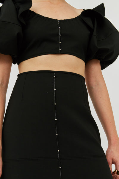 Black Riccardo Panelled Long Skirt