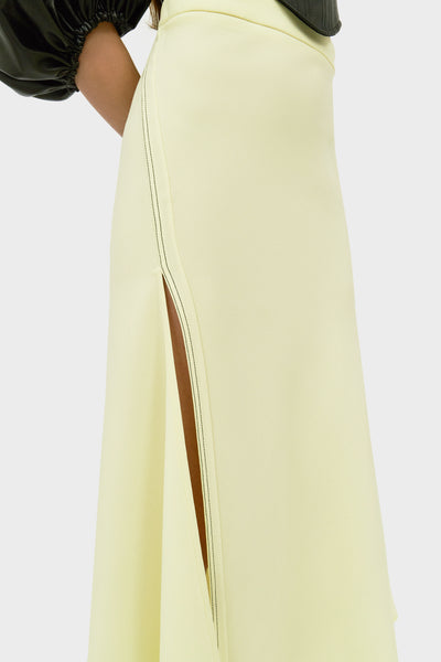SUITE DEUX BIAS HIGH SLIT SKIRT LEMON