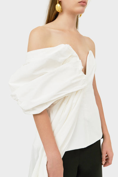 ANTIGUA DRAPED ASSYMETRIC TOP WHITE