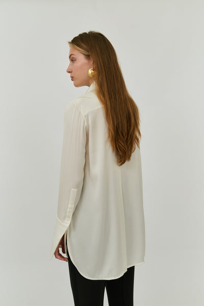 MONA FLUID LAPLE BLOUSE IVORY