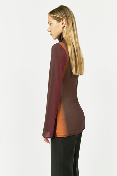BURGANDY BRUT HIGH NECK LYCRA TOP