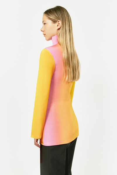 YELLOW BRUT HIGH NECK LYCRA TOP