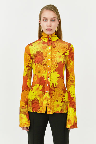 SALA ORANGE HIGH NECK SHIRT