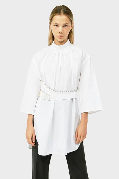 GASPARD ROUCHED NECK TOP WITH BELT