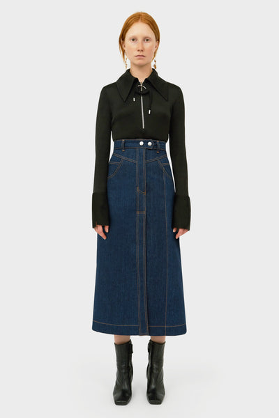 TRAFFIC DENIM PANELLED SKIRT