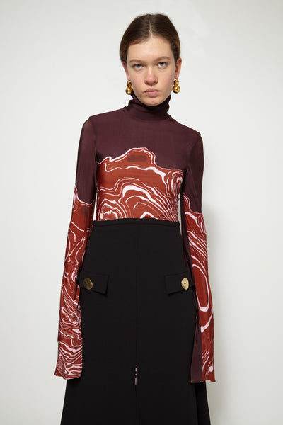 Red Brut High Neck Top