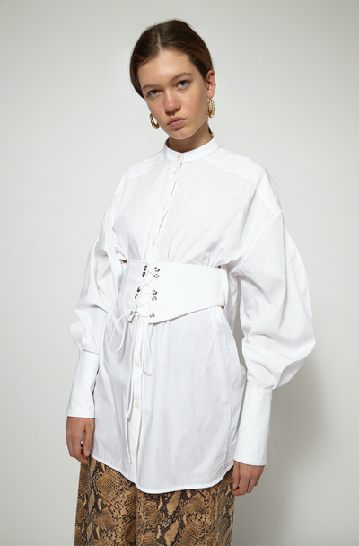 Crushing Corset Belt Oversized Shirt