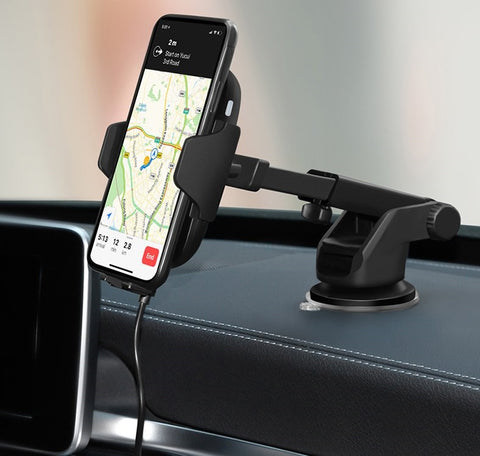 Lexuma Xmount ACM-1009 Automatic Infrared Sensor Qi fast charging Wireless Car Charger Mount for iPhone Xs Samsung S10 E S9 S8 Plus mobile device phone accessories Vehicle phone holder Car Cradles adapter with infrared motion sensor Charging Dock Easy one touch One Tap Auto-Sensor Auto-Clamping Auto-Lock Safety First Cell Phone Car Air Vent Holder Safety on road 4 Dash Smartphone dashboard GadgetiCloud All-in-one Universal Adjustable Car Mount 智能感應車架 無線充電車架 車用電話架 電話座 手機架 GPS view safety drive driving