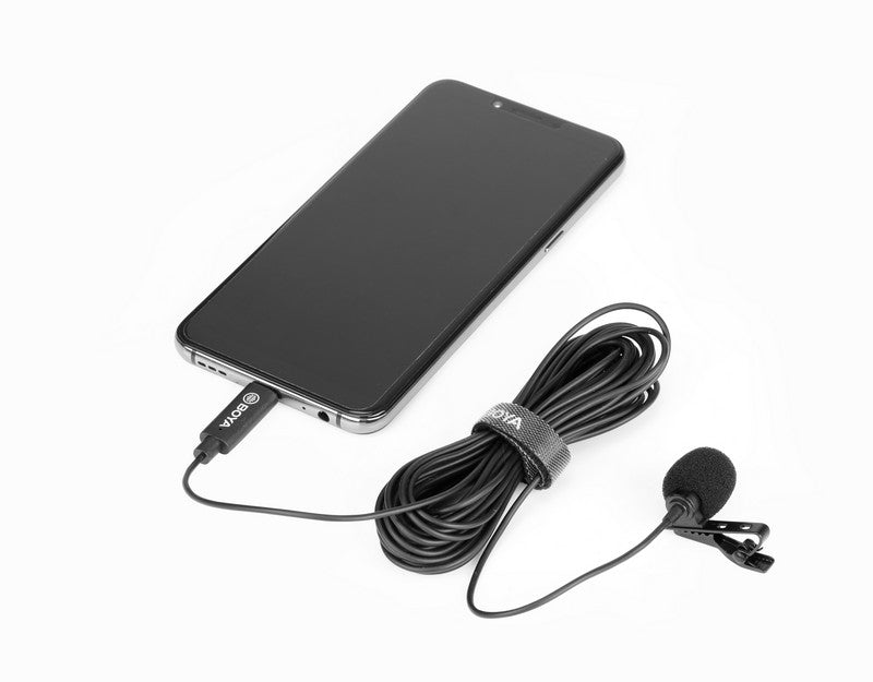 Stream Source BOYA BY-M3 Digital Lavalier Microphone for Type-C devices 6m long cables connect with android phone devices with Type-C connection port