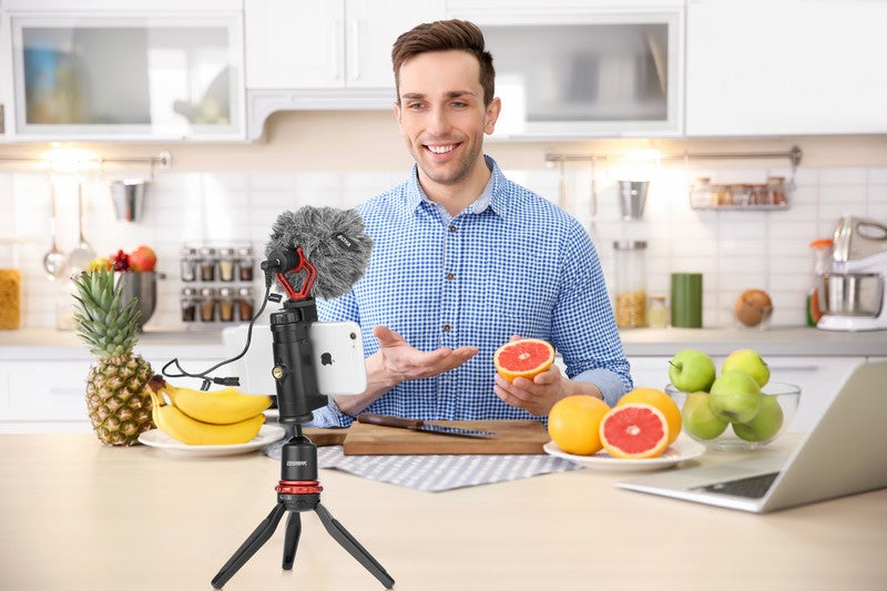 iMartCity BOYA BY-MM1 Cardioid Microphone on-camera microphone compact application mobile phone smartphones with stand use with iPhone