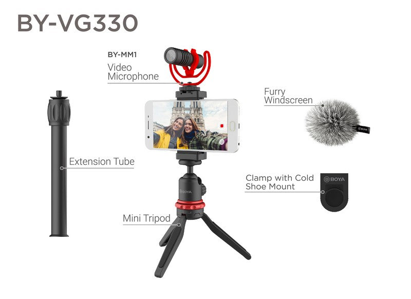 iMartCity BOYA BY-VG330 universal smartphone video kit ideal for youtuber vlogger videographer filming video shotgun microphone condenser microphone shoe mount camera mobile phone application