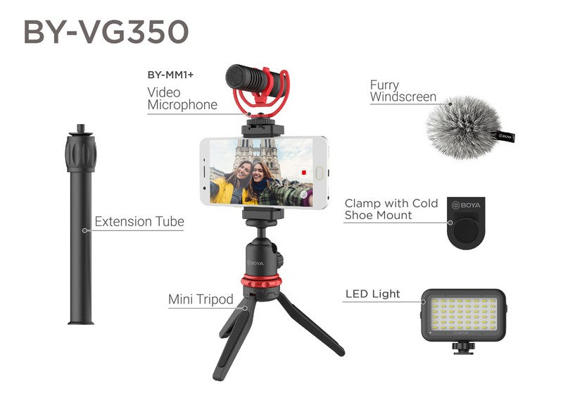 BOYA BY-VG350 universal smartphone video kit ideal for youtuber vlogger videographer filming video shotgun microphone condenser microphone shoe mount camera mobile phone application