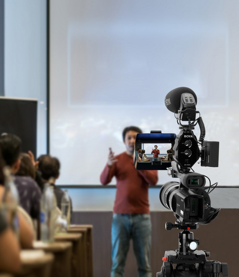 BOYA On-Camera Shotgun Microphone application filming YouTube video sound recording professional classroom lectures recording