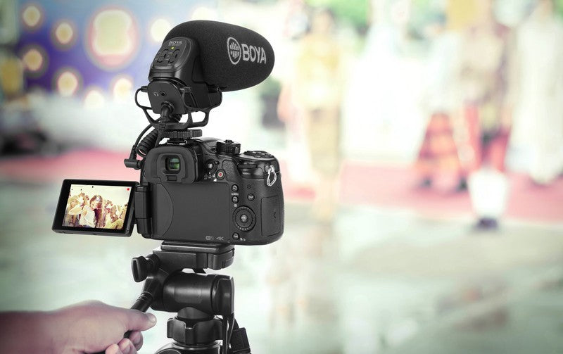BOYA On-Camera Shotgun Microphone application filming YouTube video sound recording professional outdoor filming