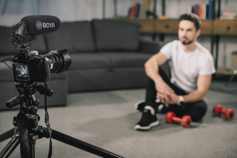 Stream Source BOYA On-Camera Shotgun Microphone application filming YouTube video sound recording professional indoor filming power on