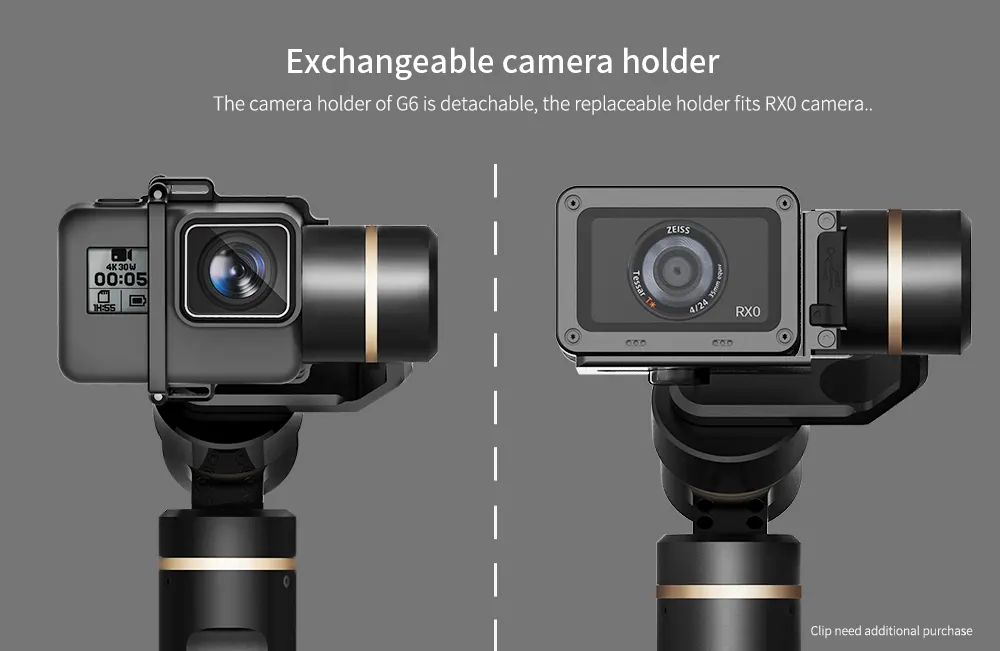 FeiyuTech G6 Handheld Gimbal for GoPro 8/7/6/5/ RX0(Required RX0 Mount)Yi 4K/SJCAM/AEE/ Ricca Action Camera close up