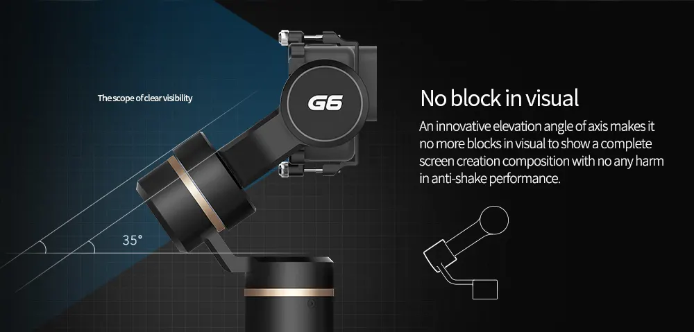 FeiyuTech G6 Handheld Gimbal for GoPro 8/7/6/5/ RX0(Required RX0 Mount)Yi 4K/SJCAM/AEE/ Ricca Action Camera no block in visual