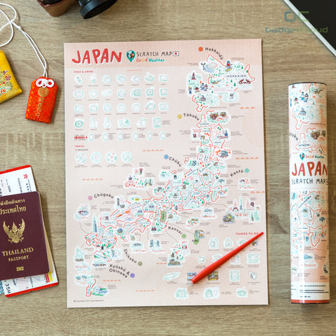 Scratch Off Traveling World Map 刮刮地圖 刮刮樂 世界地圖 Colorful map poster Travel around the World Best interesting gift by Good Weather Japan scratch travel map 日本刮刮地圖