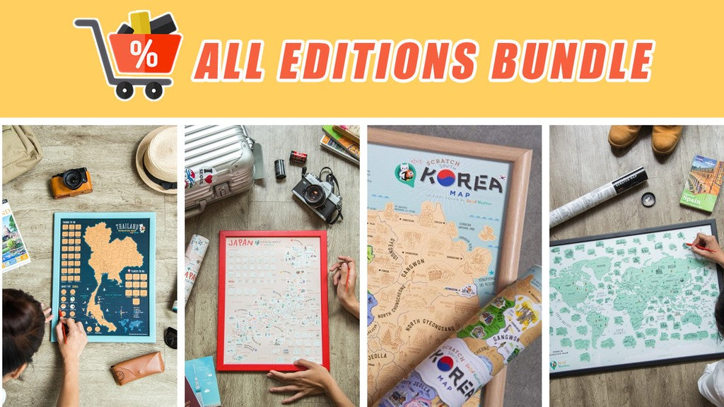 Good Weather scratch map All Map Editions Bundle (World, Japan, Korea and Thailand) deluxe luckies world travel map with pins europe uk rosegold small personalised Scratching Off Traveling World Map framed travelization Best interesting gift discount package map combo (日本 韓國 泰國) 刮刮地圖 刮刮樂 世界地圖 - GadgetiCloud