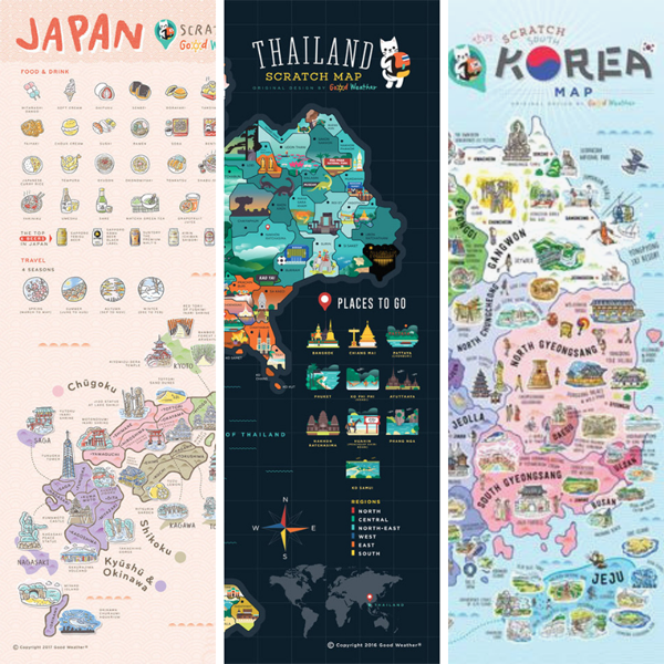 Good Weather Small Scratch Map Bundle (Korea, Thailand, Japan)  deluxe deluxe luckies world travel map with pins europe uk rosegold small personalised Scratch Off Traveling World Map framed travelization best gift 刮刮地圖 刮刮樂 世界地圖 - GadgetiCloud