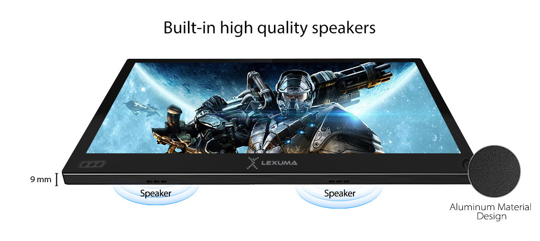 GadgetiCloud-Lexuma-XScreen-Portable-Monitor-Ultra-Slim-HD-1080P-USB-Powered-Gaming-slim-profile-built-in-speaker