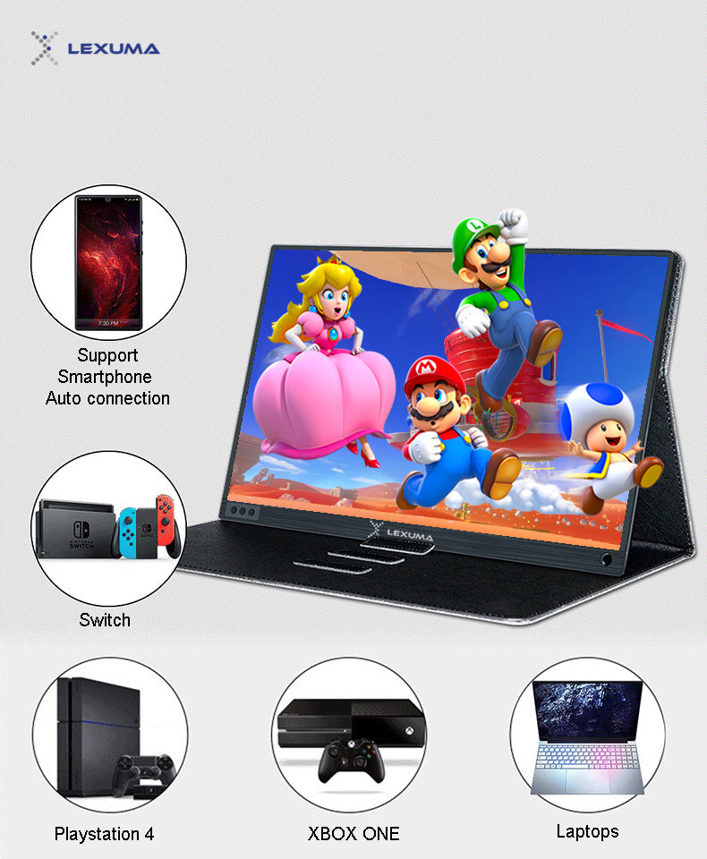 imartcity portable monitor touch screen monitor display 1080P wide viewing angle type-c connection connect to gaming devices PS4 XBOX ONE Switch