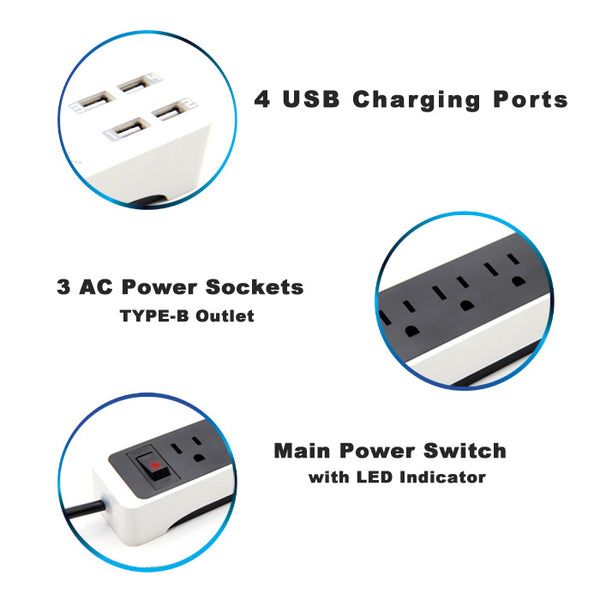 Lexuma XStrip XPS-SB1340 3 Gang US 15A Socket Mini USB Power Strip with 4 USB Ports 5V 6A Overload Surge Protector Protected Standard 3-Outlets All-in-one Wholesale Certificated 3 Electric US plugs Plus Fast Charging Station Multi-Outlets White AC Plugs and Extension Cord Travel Size Power Strip highlight features – iMartCity