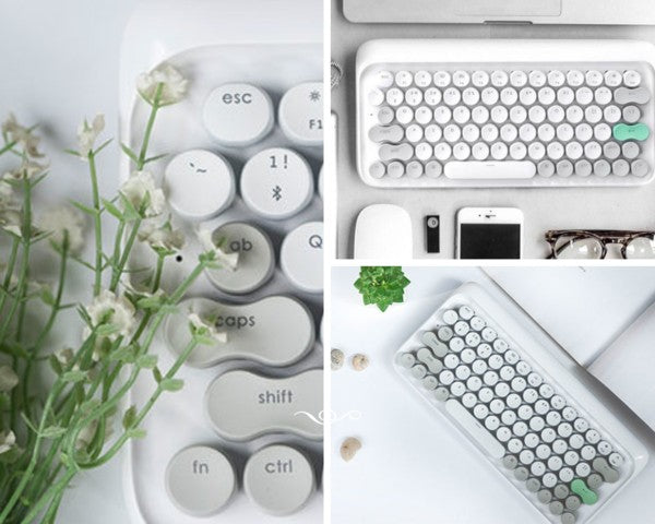 Lofree Wireless Mac Mechanical Keyboard Vernal White GadgetiCloud Wireless Mac DOT Bluetooth Mechanical mini keyboard retro style Steampunk Vintage Typewriter azio unicomp ultra classic penna keyboard 打字機 機械鍵盤 復古鍵盤 打字機鍵盤