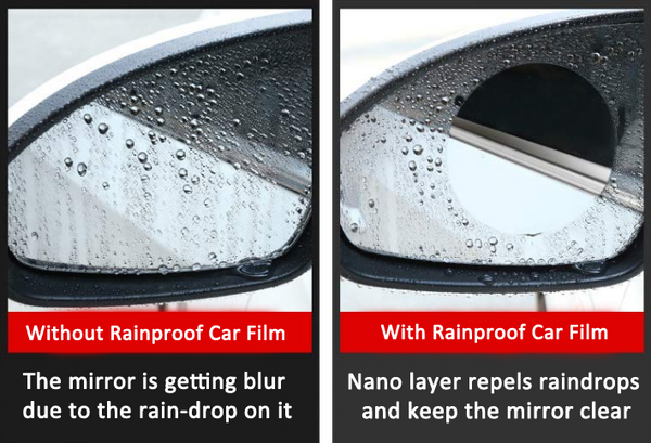 Rainproof film for Side Window and Rearview Mirror COMBO For Car Rear View Mirror scratch proof anti-static car window mirror waterproof anti fog film rainproof car sticker car side mirror waterproof membrane for car rearview mirror side waterproof Rearview Mirror Protective Film Glass Film Hydrophobic Protective test - GadgetiCloud